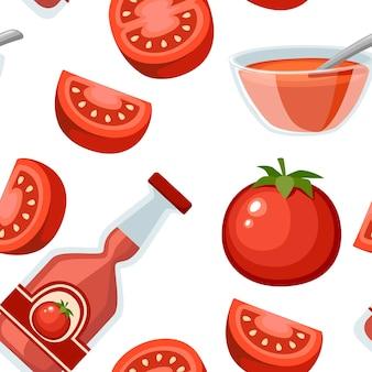 Pomodori freschi senza cuciture e illustrazione intera piana di ketchup
