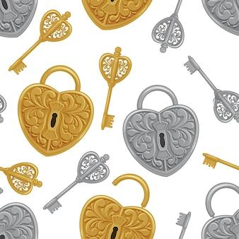 Modello senza cuciture da serrature e chiavi, oro e argento.