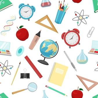 Modello senza cuciture da accessori per la scuola. illustrazione vettoriale. texture infinita con forniture per ufficio. stile cartone animato.