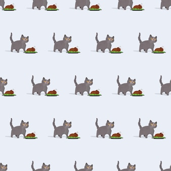 Modello senza cuciture il gatto divertente sta tenendo un tacchino arrosto. un gatto dall'aspetto buffo tiene in mano un pollo fritto. ottimo per sfondi, cartoline e stampe a tema estivo. vettore.