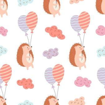 Modello senza cuciture di riccio divertente con palloncini colorati. ideale per panno per bambini, decorazioni per la casa.