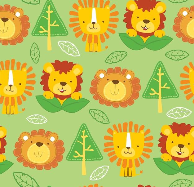 Modello senza cuciture del fumetto divertente del leone con foglie e alberi