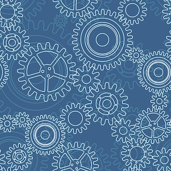 Modello senza cuciture delle ruote dentate, bianco su blu