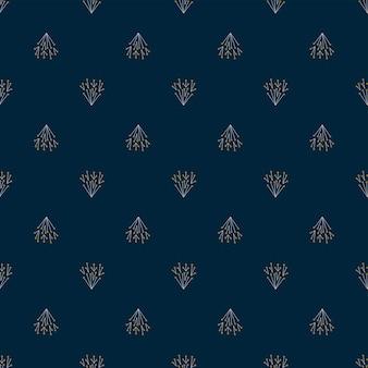 Piante astratte geometriche di sfondo blu scuro senza cuciture