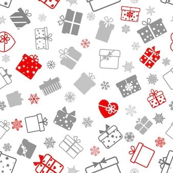 Modello senza cuciture di scatole regalo, grigio e rosso su bianco