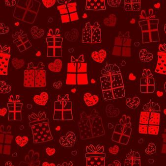Modello senza cuciture di scatole regalo e cuori con riccioli, rosso su nero