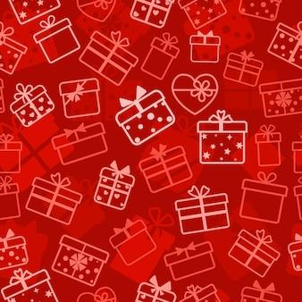 Modello senza cuciture di scatole regalo, bianco su rosso