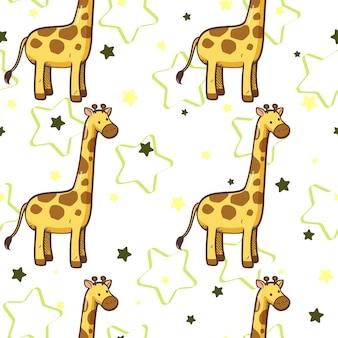Fondo bianco della carta da parati del fumetto della giraffa e della stella senza cuciture del modello