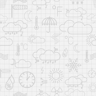 Modello senza cuciture di simboli meteorologici grigi su sfondo bianco a scacchi