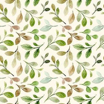 Modello senza giunture di foglie verdi acquerello