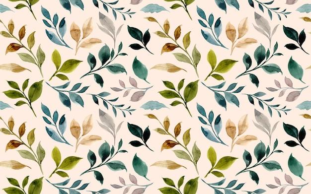 Modello senza cuciture di foglie verdi con acquerello