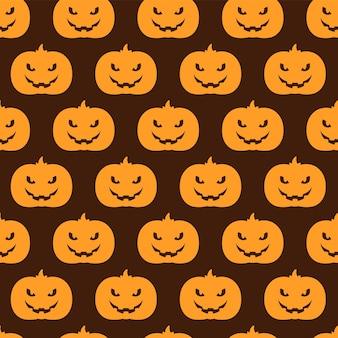 Modello senza cuciture sfondo di halloween con zucche e pipistrelli