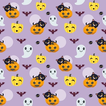 Il modello senza giunture di halloween in stile piatto vettoriale. illustation del simpatico gatto seduto sulla zucca con fantasma e pipistrello