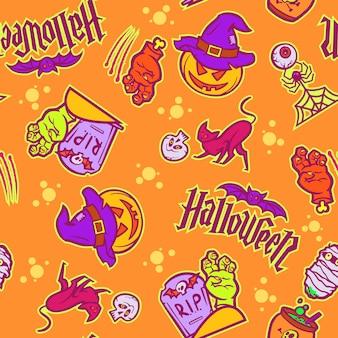 Modello senza cuciture per la decorazione delle vacanze di halloween. simboli di halloween zucca stile cartone animato, pipistrello.illustrazione vettoriale