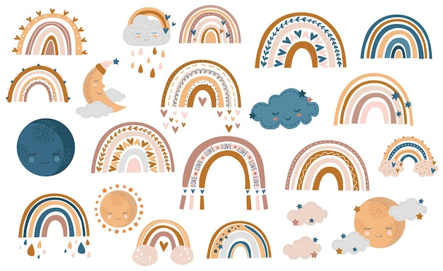 Modello senza cuciture di arcobaleno autunnale disegnato a mano, nuvole e gocce di pioggia nei colori miele, giallo e marrone su sfondo bianco
