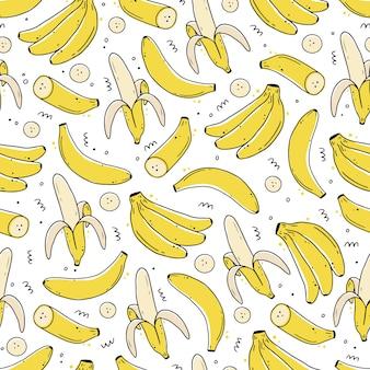 Modello senza cuciture di frutta banana disegnata a mano. illustrazione di stile di linea di schizzo di doodle Vettore Premium