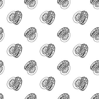 Modello senza cuciture scarabocchio disegnato a mano del disco del freno. icona di stile di schizzo. elemento decorativo. isolato su sfondo bianco. design piatto. illustrazione vettoriale.