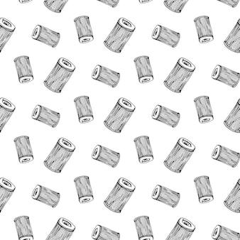Modello senza cuciture scarabocchio disegnato a mano del filtro dell'aria dell'automobile. icona di stile di schizzo. elemento decorativo. isolato su sfondo bianco. design piatto. illustrazione vettoriale.