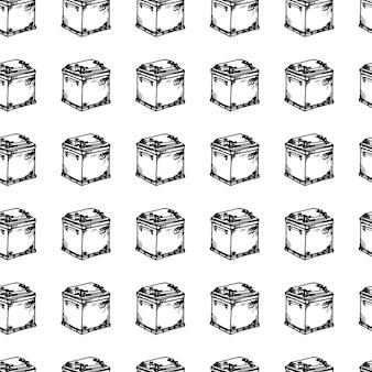Modello senza cuciture doodle di batteria per auto disegnato a mano. icona di stile di schizzo. elemento decorativo. isolato su sfondo bianco. design piatto. illustrazione vettoriale.