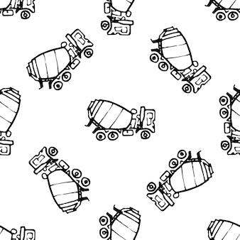 Scarabocchio disegnato a mano della betoniera del reticolo senza giunte. icona di stile di schizzo. elemento decorativo. isolato su sfondo bianco. design piatto. illustrazione vettoriale.