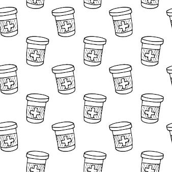 Modello senza cuciture disegnato a mano bottiglia di droga e compresse doodle. icona di stile di schizzo. elemento decorativo. isolato su sfondo bianco. design piatto. illustrazione vettoriale.
