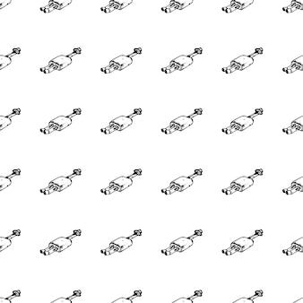 Modello senza cuciture scarabocchio disegnato a mano del tubo di scarico. icona di stile di schizzo. elemento decorativo. isolato su sfondo bianco. design piatto. illustrazione vettoriale.
