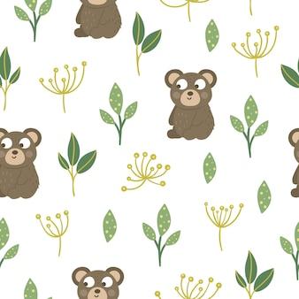 Modello senza cuciture di orso bambino divertente disegnato a mano con foglie stilizzate e aneto.