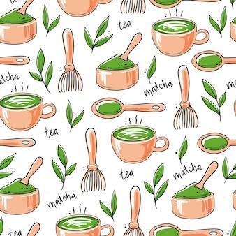 Modello senza cuciture di ingrediente di tè matcha disegnato a mano e elementi di cerimonia tradizionale