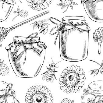 Modello senza cuciture di barattoli di miele, api, fiori. illustrazione disegnata a mano