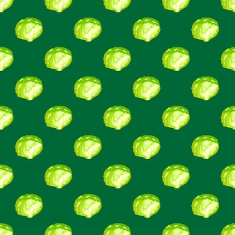 Insalata di iceberg senza cuciture su sfondo verde acqua. ornamento minimalista con lattuga.