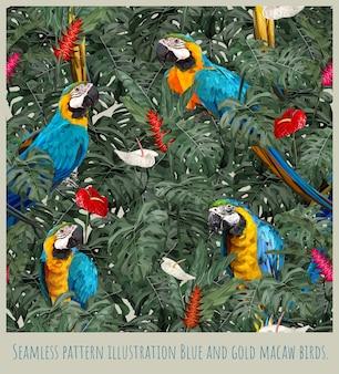 Illustrazione del modello senza saldatura foresta pluviale amazzonica uccelli e foglie di ara blu e oro.