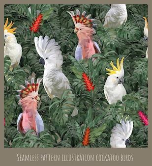 Illustrazione senza cuciture del modello cacatua della foresta pluviale amazzonica uccelli e foglie.