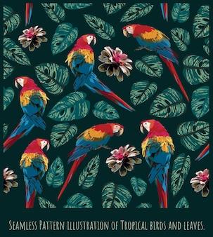 Modello senza cuciture illustrazione foresta pluviale amazzonica ara scarlatta uccelli e foglie.