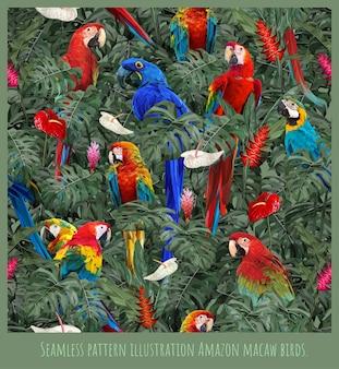 Arte dell'illustrazione del modello senza cuciture degli uccelli e delle foglie della foresta pluviale amazzonica.