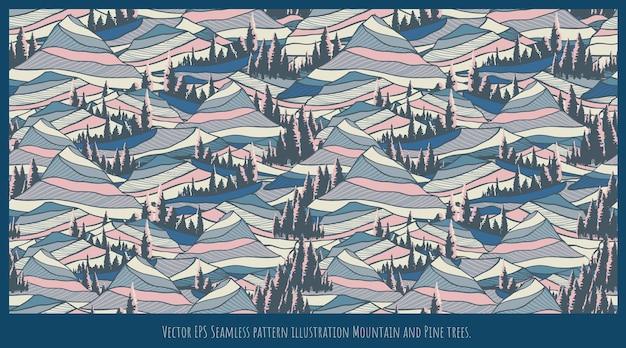 Arte dell'illustrazione del modello senza cuciture, forme di montagna e sovrapposizione di alberi di pino.