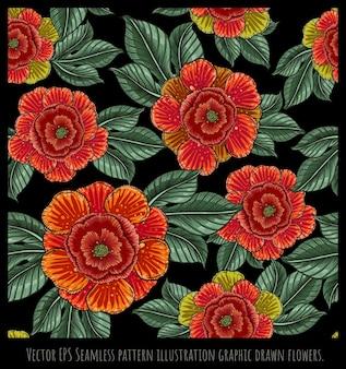 Arte disegnata a mano dell'illustrazione senza cuciture del modello dei fiori e delle foglie variopinti.