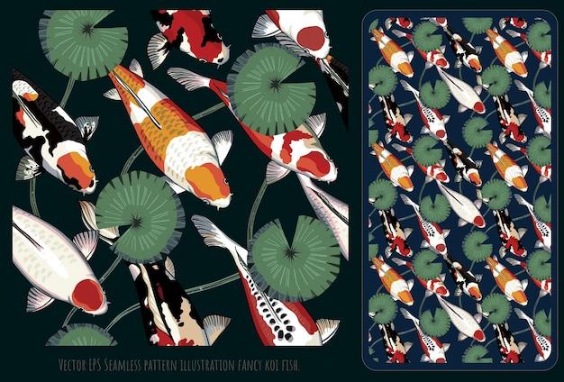 Modello senza cuciture illustrazione disegnata a mano arte del mix di pesci koi colorati.