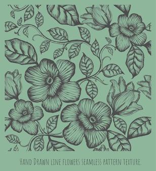 Modello senza cuciture illustrazione disegnata a mano linea di schizzo fiori e foglie.