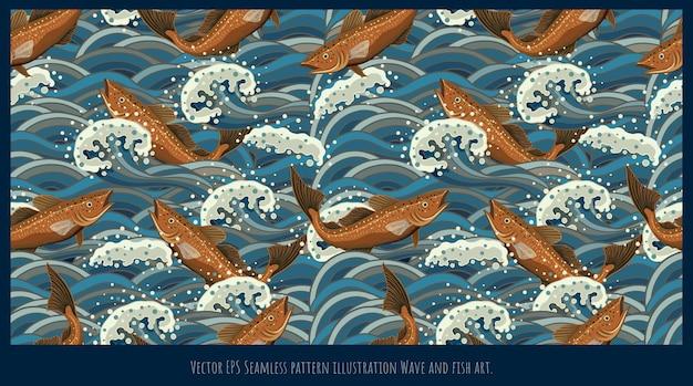 Modello senza cuciture illustrazione arte giapponese vecchio stile, forme d'onda di mare di pesce che si sovrappongono.