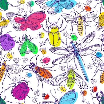 Modello senza cuciture dell'insetto schizzo realistico della siluetta impostato doodle illustrazione