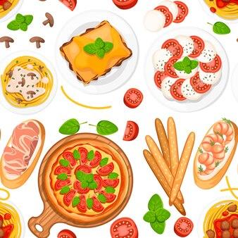 Seamless pattern. cucina italiana. pizza, spaghetti, risotti, bruschette e grissini. cucina italiana classica su piatti e tavola di legno.