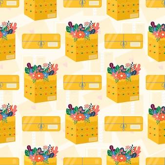 Pacchetti di cartone con motivo senza cuciture e nastro adesivo per icone di consegna. set di pacchi postali, pacchi, scatole, lettere, buste. pacco per il concetto di servizio di consegna online. vettore