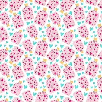 Vasetti senza cuciture con sughero pieni di cuori rosa. stampa per carta da imballaggio, carta da parati, copertine. illustrazione vettoriale, sfondo infinito.
