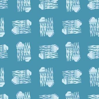 Meduse senza cuciture su sfondo blu pastello. ornamento semplice con animali marini. modello geometrico per tessuto. illustrazione di vettore di progettazione.
