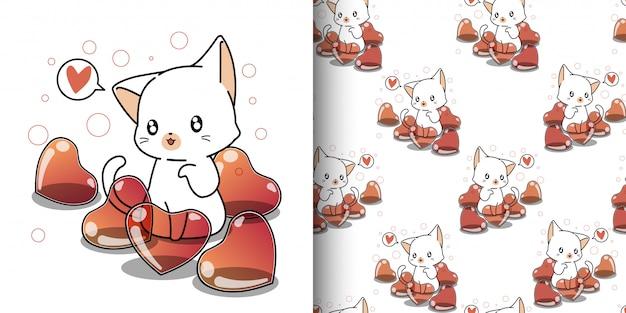 Gatto kawaii senza cuciture e molto palloncino cuore
