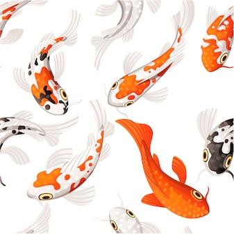 Modello senza giunture di carpe koi simbolo giapponese di fortuna fortuna prosperità rosso e nero punteggiato carpe koi piatto del fumetto su priorità bassa bianca.