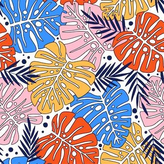 Modello senza giunture di foglie monstera. foglie tropicali di palma.