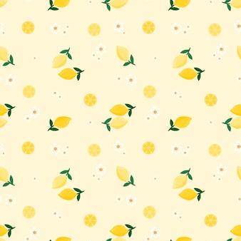 Modello senza cuciture limone e fiori