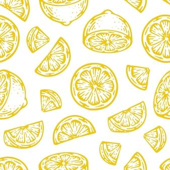 Modello senza giunture di fetta di limone in doodle vintage.