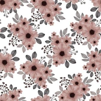 Motivo senza cuciture di fiori marrone chiaro